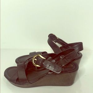 Cole Haan Black Leather Wedge Sandal Gold Buckle